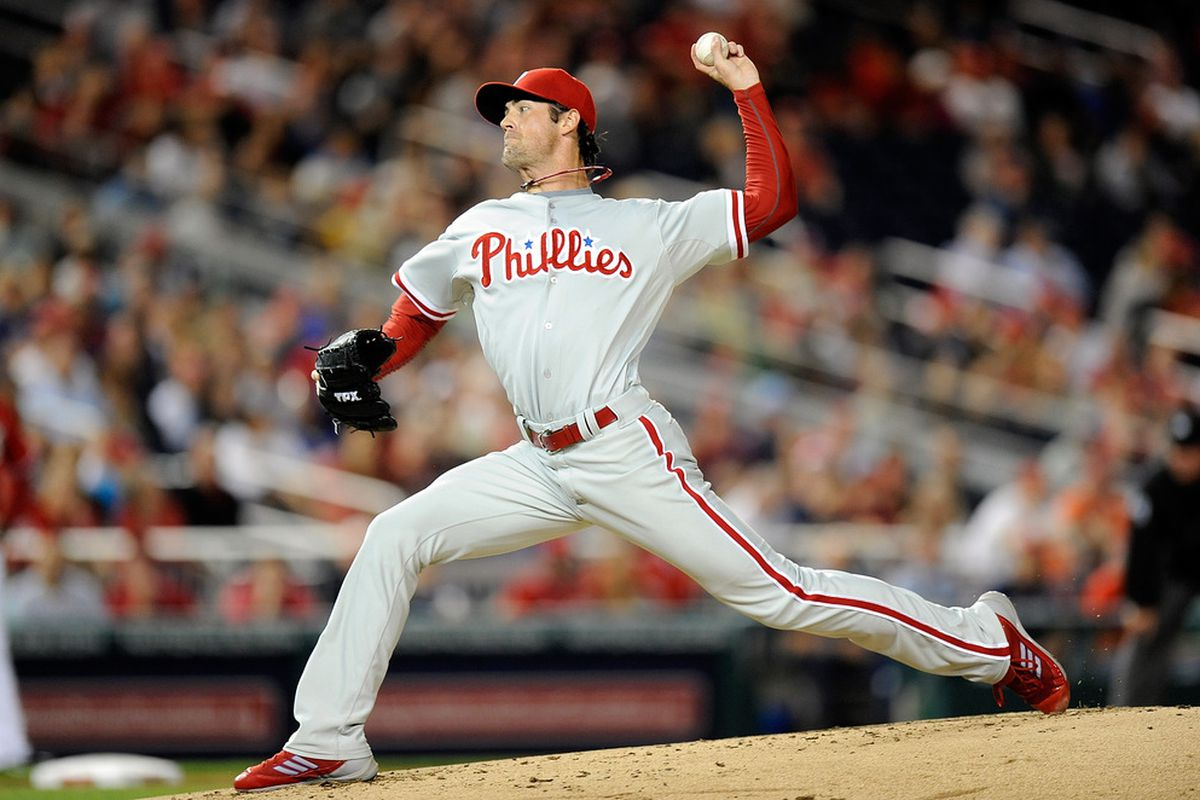 WASHINGTON, DC - MAY 06:  Cole Hamels #35 of the Philadelphia Phillies pitches against the Washington Nationals at Nationals Park on May 6, 2012 in Washington, DC.  (Photo by Greg Fiume/Getty Images)