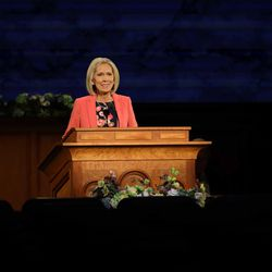 Sister Joy D. Jones, Primary general president, speaks in the Saturday morning session of the 190th Annual General Conference of The Church of Jesus Christ of Latter-day Saints on Saturday, April 4, 2020.