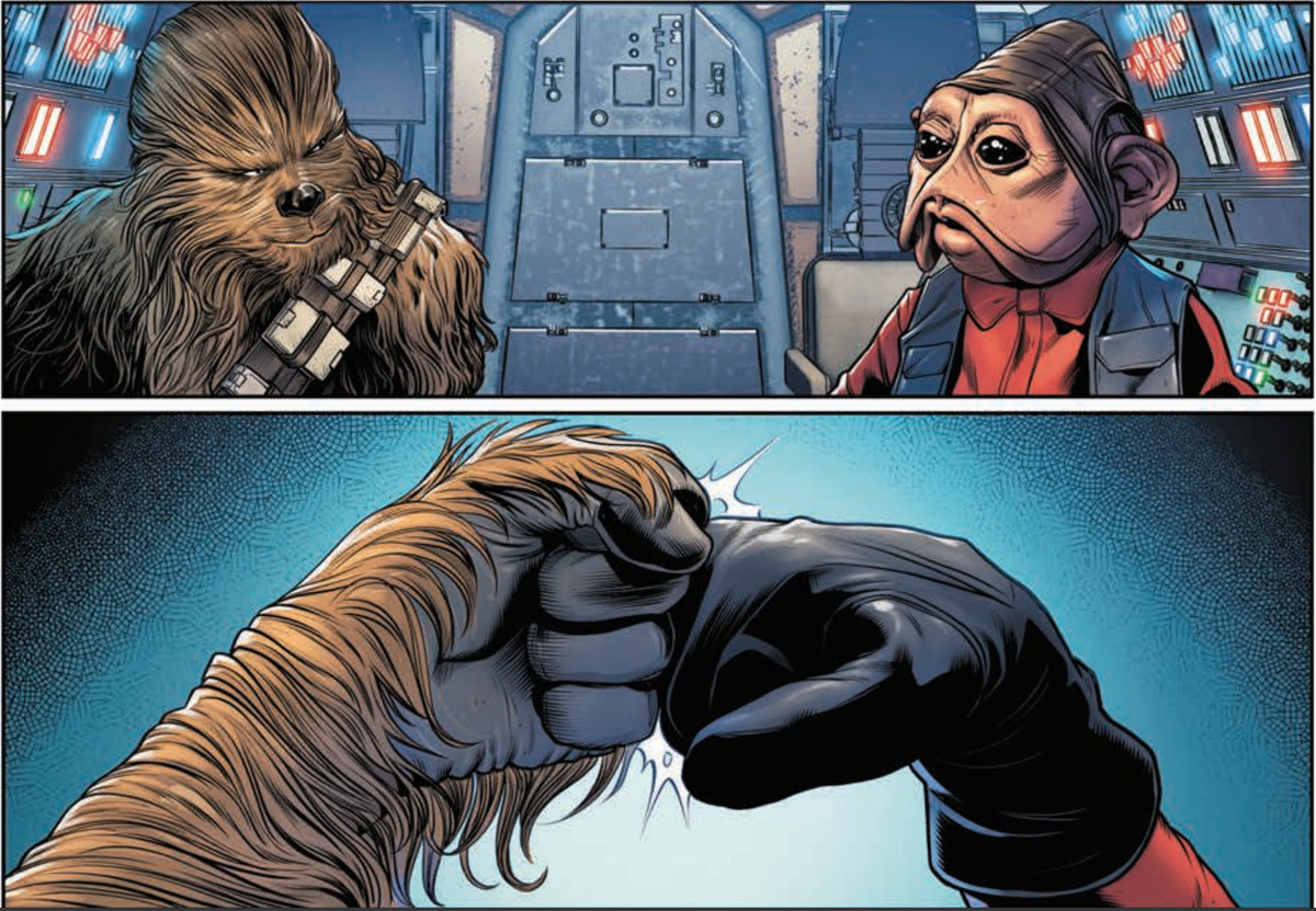 Chewbacca and Nien Nunb share a knowing glance, and a well-earned fist-bump.