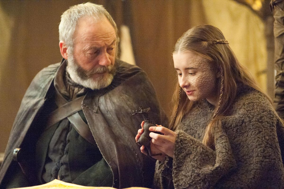 Davos and Shireen on Game of Thrones.