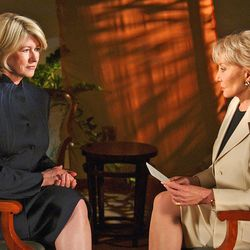 Martha Stewart, left, speaks with Barbara Walters on the set of ABC's 2020 on July 16, 2004, in New York.
