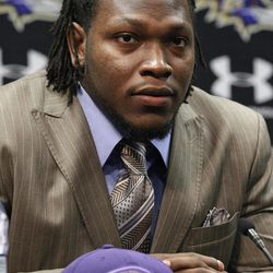 Baltimore Ravens defensive end/outside linebacker Courtney Upshaw listens to a reporter's question during a news conference at the team's training facility in Owings Mills, Md., Saturday, April 28, 2012. Upshaw was the 35th overall pick in the second round of the NFL football draft.