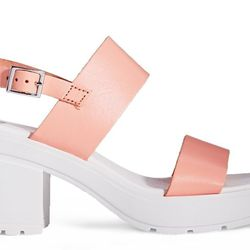 """<b>ASOS</b> Hat Trick in Pink, <a href=""""http://us.asos.com/ASOS/ASOS-HAT-TRICK-Leather-Heeled-Sandals/Prod/pgeproduct.aspx?iid=3961052&cid=17169&sh=0&pge=0&pgesize=204&sort=-1&clr=Pink"""">$67</a>"""
