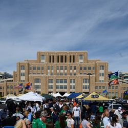 Oct 5, 2019; South Bend, IN, USA; Fans tailgate before the game between the Notre Dame Fighting Irish and the Bowling Green Falcons at Notre Dame Stadium.