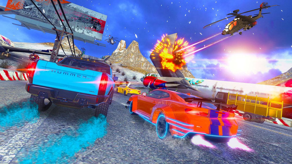 A helicopter attacks cars in Cruis'n Blast