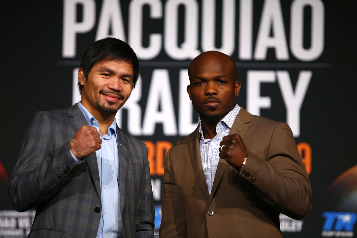 Manny Pacquiao, left, and Timothy Bradley Jr. will fight April 9.
