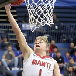 Manti's Travis Thomson shoots during the 3A boys basketball state tournament quarterfinals against Grantsville at the Lifetime Activities Center in Taylorsville on Thursday, Feb. 20, 2020. Manti won 67-54.