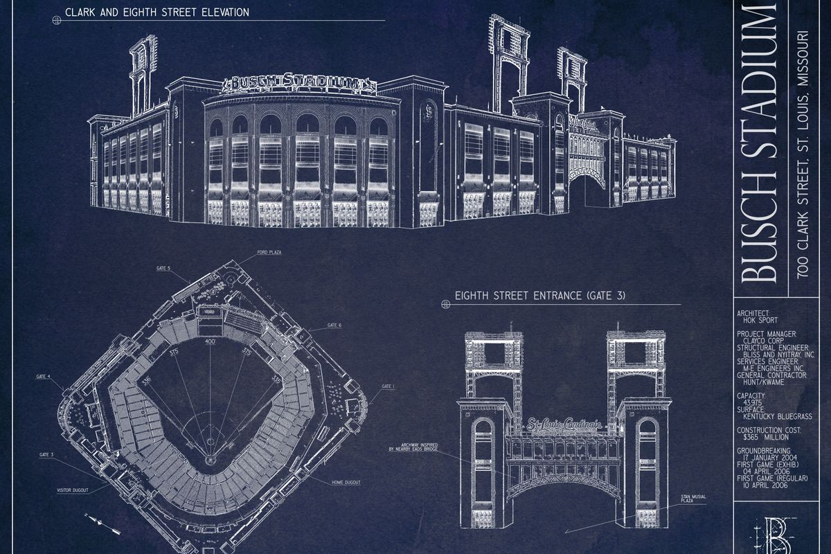 Busch stadium blueprint art giveaway viva el birdos we featured one of ballpark blueprints gorgeous architectural prints of busch stadium as a prize for the predictions contest last march malvernweather Images
