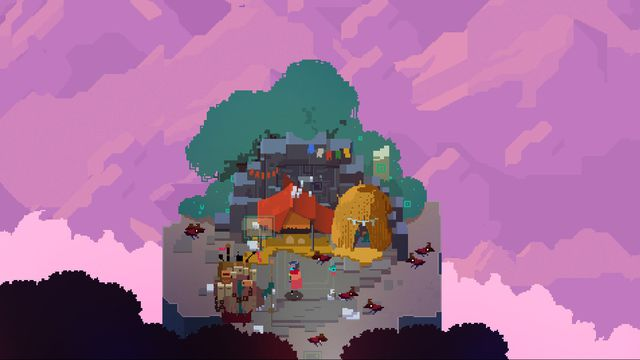 a camp in a glade of trees under a purple sky in Hyper Light Drifter