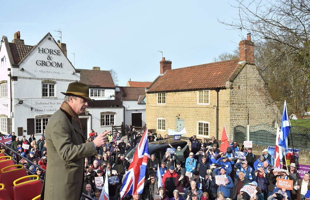 Former UKIP leader Nigel Farage addresses March to Leave protesters in Nottingham on March 23, 2019.