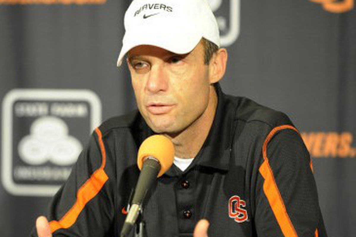 Mike Riley addresses the crowd at Tuesday's press conference. The Beavers will travel to Arlington, Texas to play sixth-ranked TCU on Saturday. (Photo via OSU Athletics)