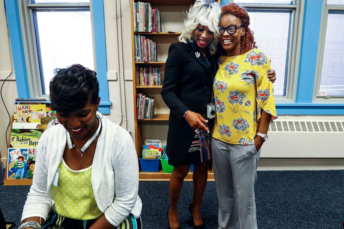 Achievement School District chief Sharon Griffin greets Alethea Henry (right) at Georgian Hills Achievement Elementary on the first day of school.