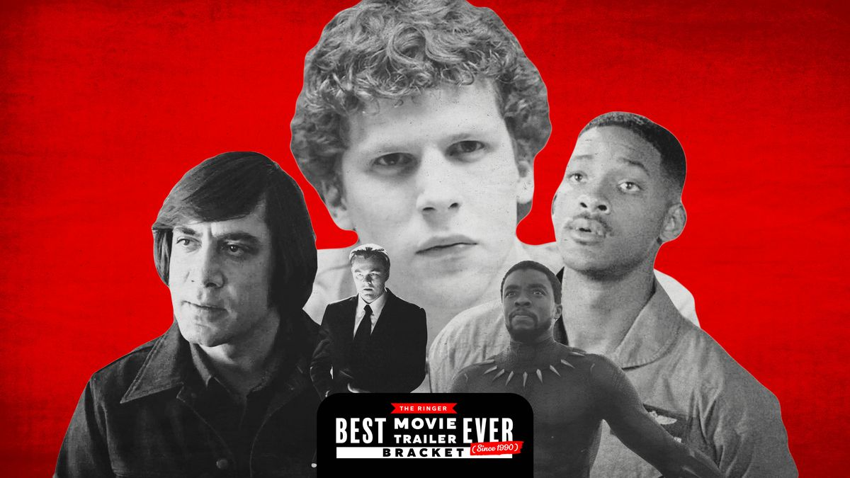 A collage of movie characters including Jesse Eisenberg's Mark Zuckerberg and Will Smith as Captain Steven Hiller