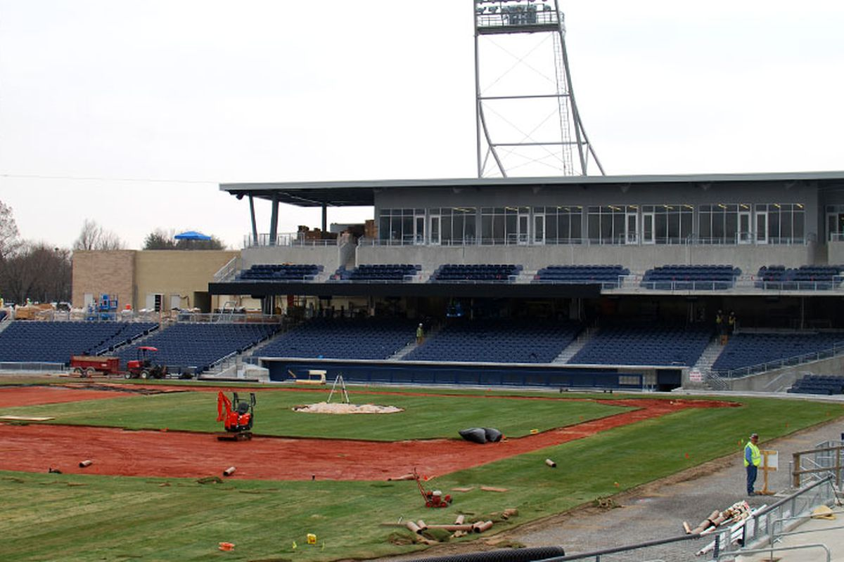 Photo of First Tennessee Park progress in mid-March.