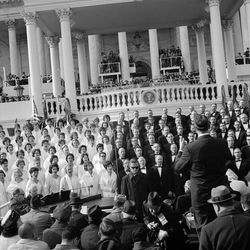 The Mormon Tabernacle Choir performs at the presidential inauguration of Lyndon B. Johnson on Jan. 20, 1965. It was the first of five appearances by the choir at inauguration ceremonies for U.S. presidents. The choir will sing at the inauguration of president-elect Donald Trump on Jan. 20, 2017, the choir and the inaugural committee announced on Thursday, Dec. 22, 2016.