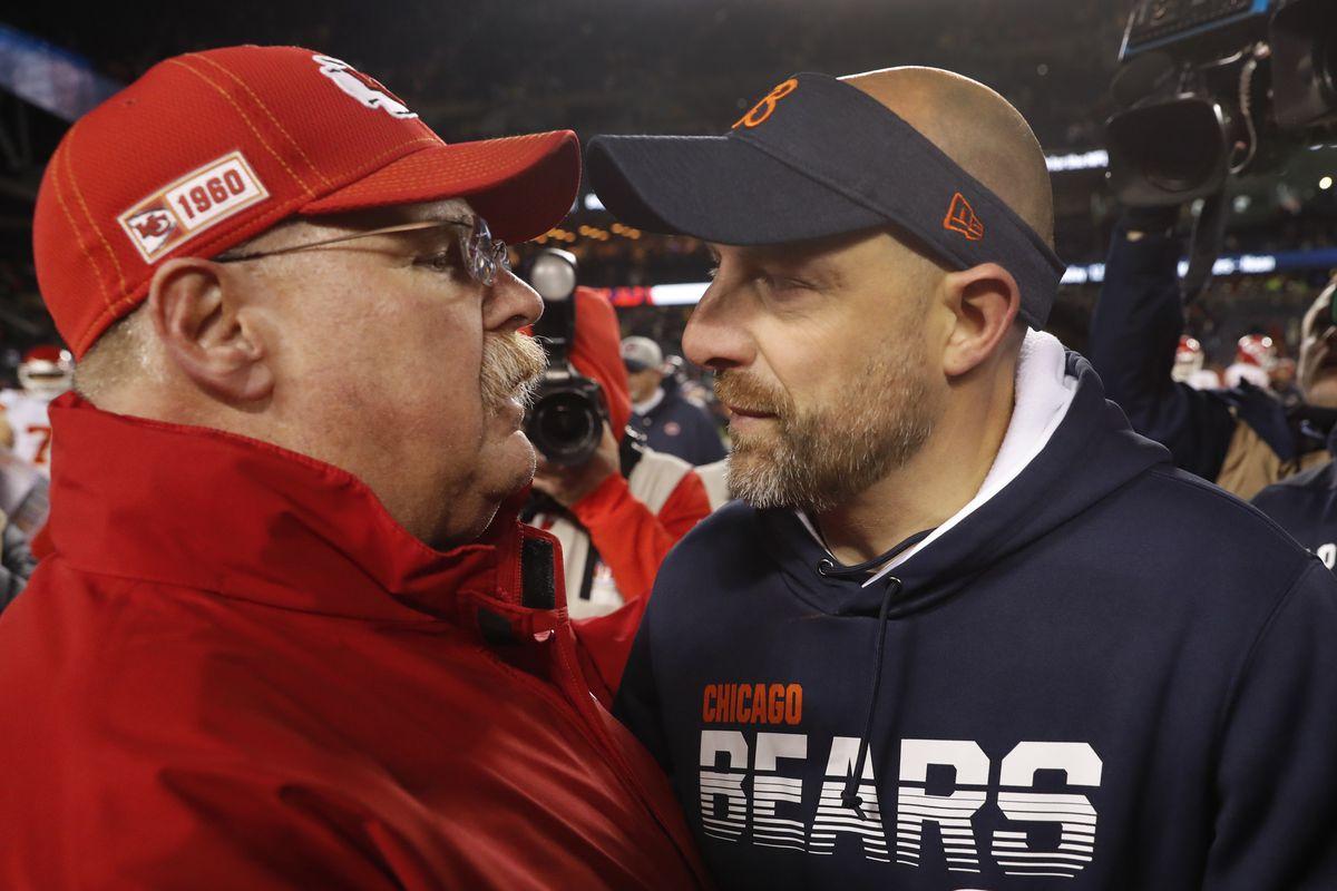 Kansas City Chiefs coach Andy Reid talks with Bears coach Matt Nagy after Sunday's game at Soldier Field.