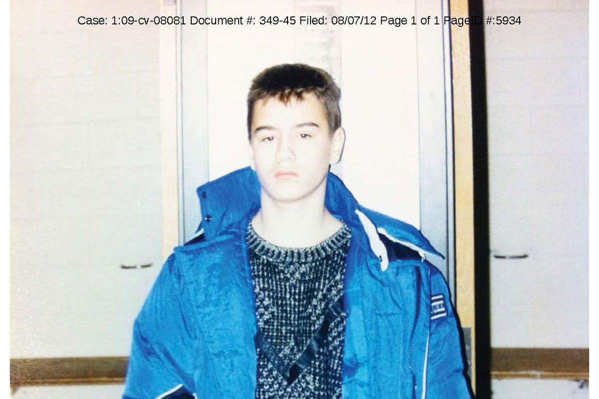 "Thaddeus ""T.J."" Jimenez in police lineup photo at 13."