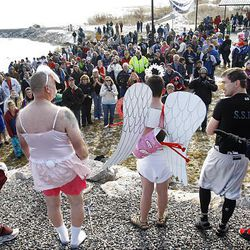 Costumed participants are judged by the crowd for best costume during the second Polar Plunge at Utah Lake in Saratoga Springs Saturday. The event, hosted by the Saratoga Springs Police Department, benefited Special Olympics Utah.