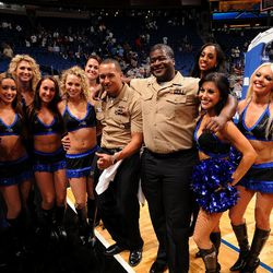 Orlando Magic Dancers visit with military personnel at the Magic game during Seats for Soldiers Night presented by Harris Corporation on November 4.