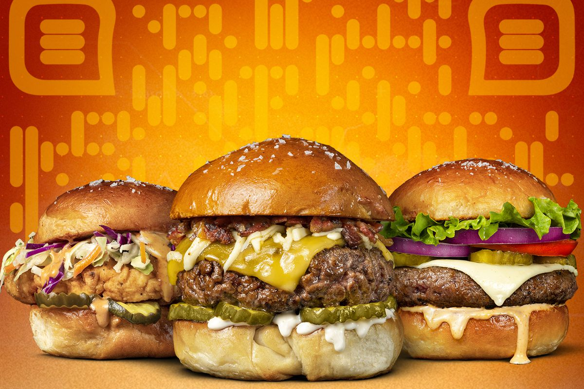 An orange and yellow rendering of three burgers used for a new at-home dining game.