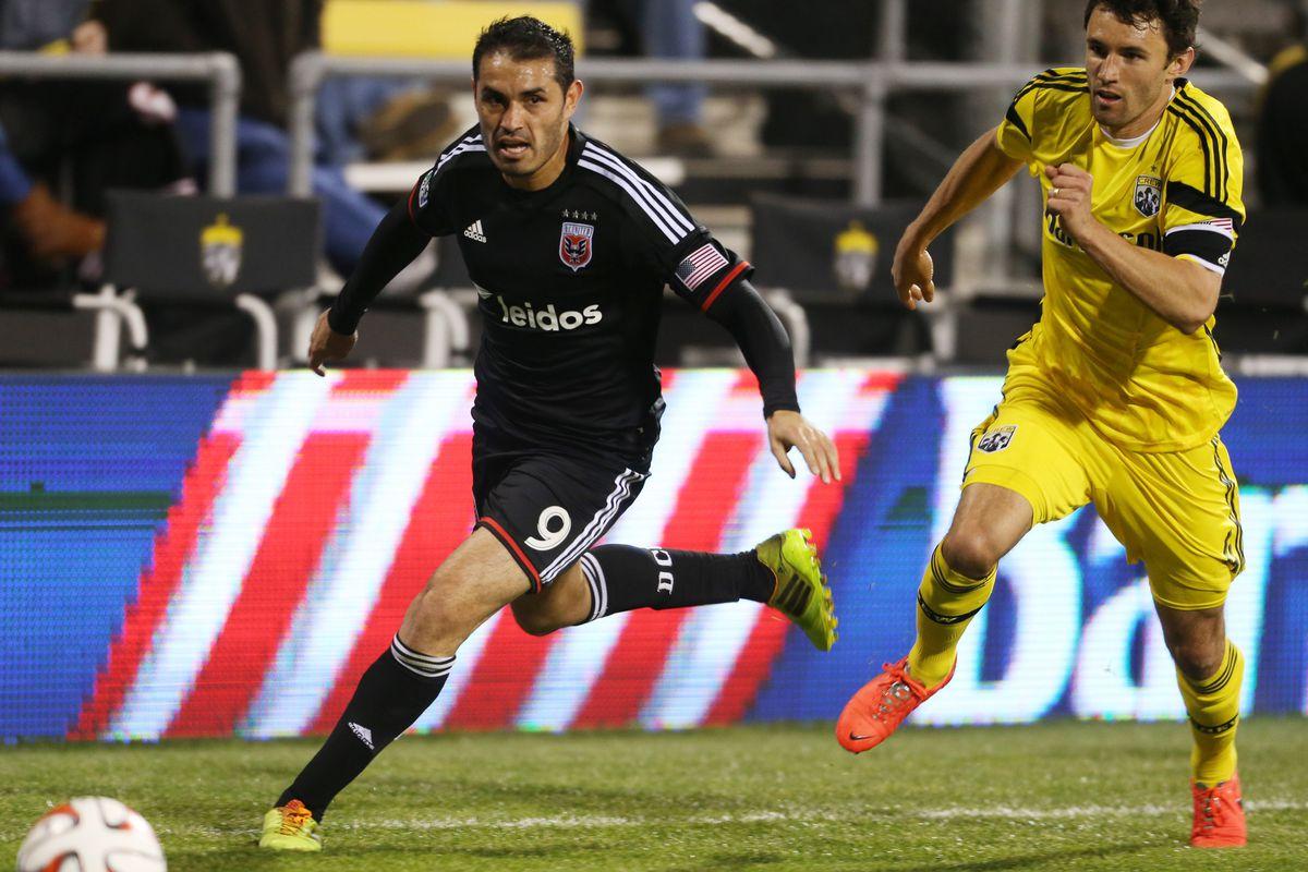 Fabian Espindola is back leading the D.C. United attack against Crew SC