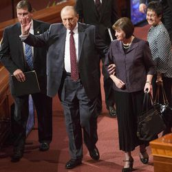 President Thomas S Monson and his daughter, Sister Ann Dibb make their way off the stand following the Saturday morning session of the 183rd Semiannual General Conference for the Church of Jesus Christ of Latter-day Saints Saturday, Oct. 5, 2013 inside the Conference Center.