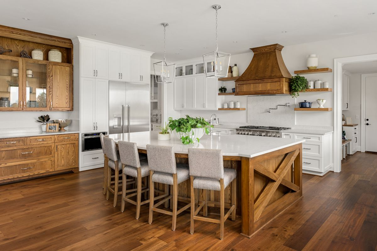 Modern kitchen with wood accents.