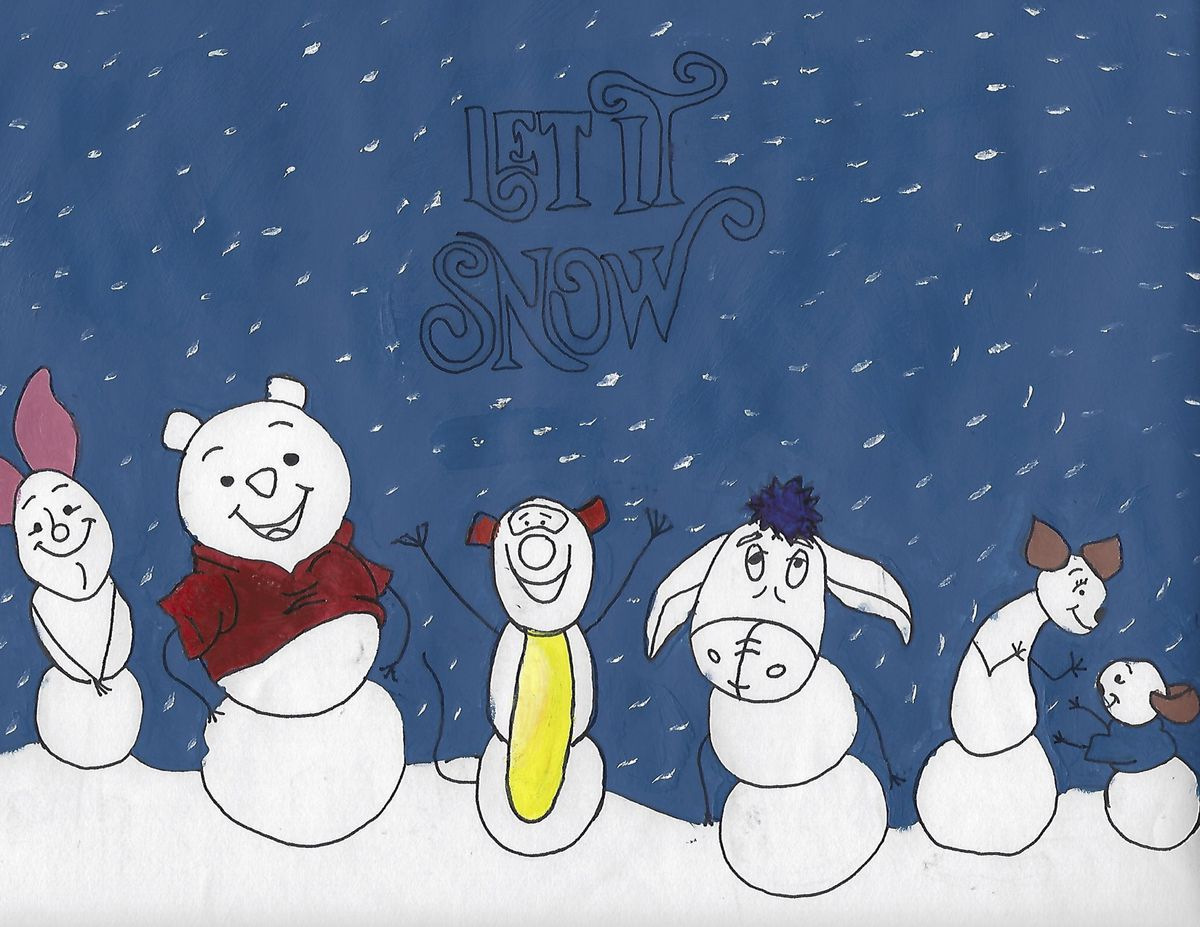 Pooh Bear and friends as snow creatures by Ange-Marie N., 15, a freshman at Von Steuben Metropolitan Science Center on the North Side.