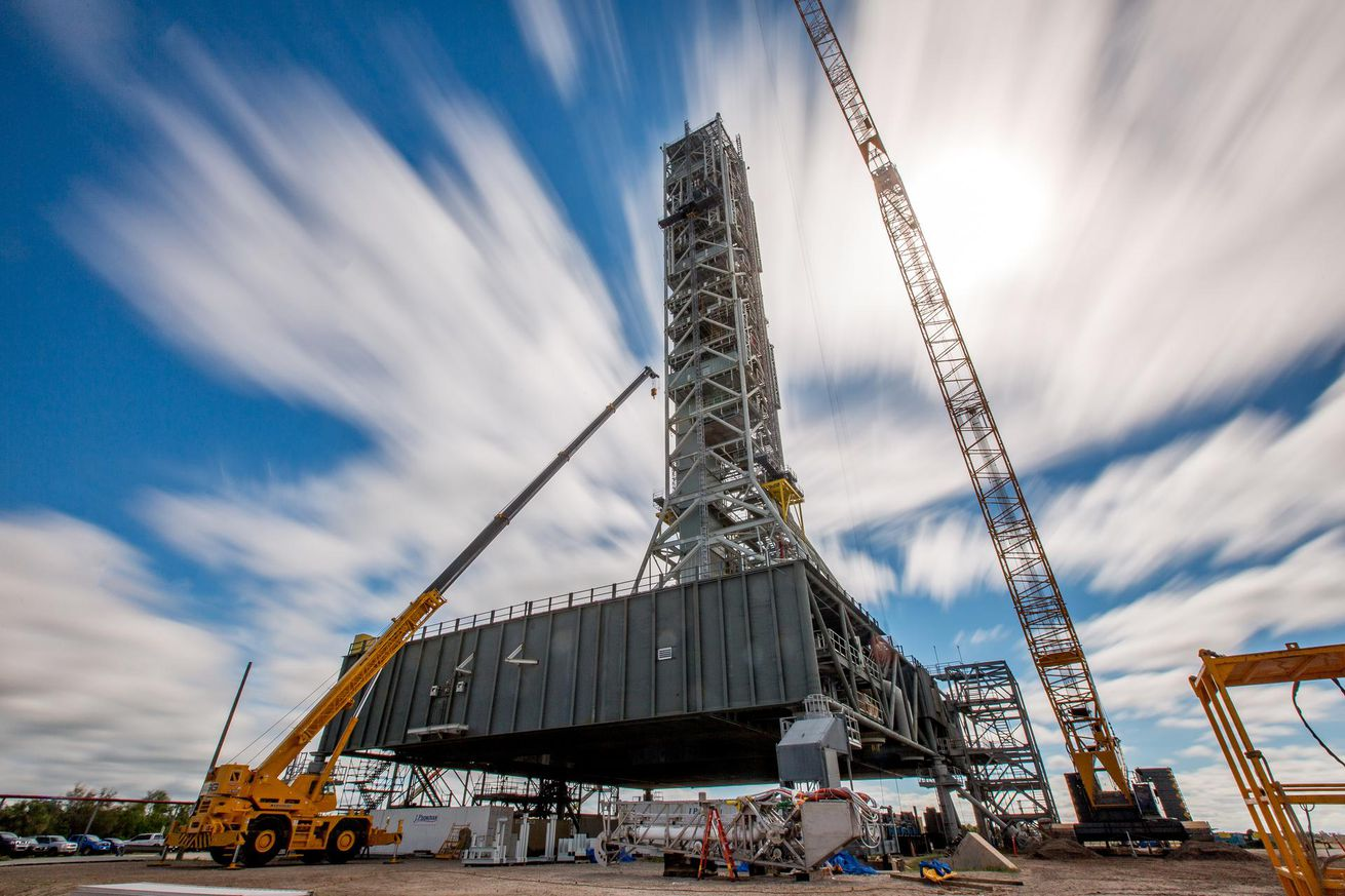 <em>The mobile launcher under construction at Kennedy Space Center in Florida.</em>