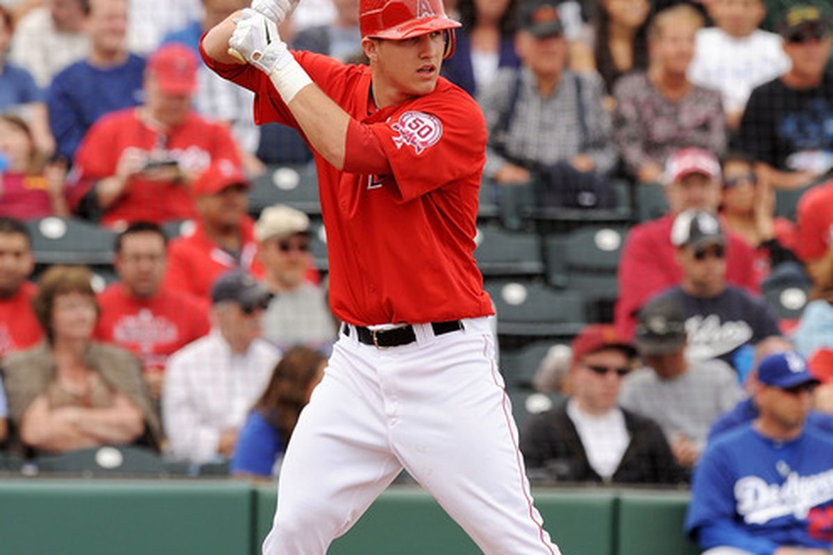 TEMPE, AZ - FEBRUARY 26:  Mike Trout #90 of the Los Angeles Angels of Anaheim waits for a pitch while at bat against the Los Angeles Dodgers at Tempe Diablo Stadium on February 26, 2011 in Tempe, Arizona.  (Photo by Norm Hall/Getty Images)