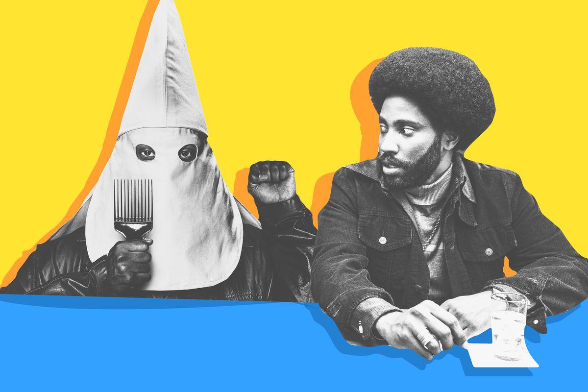 A Klansman holding an afro pick sitting next to John David Washington