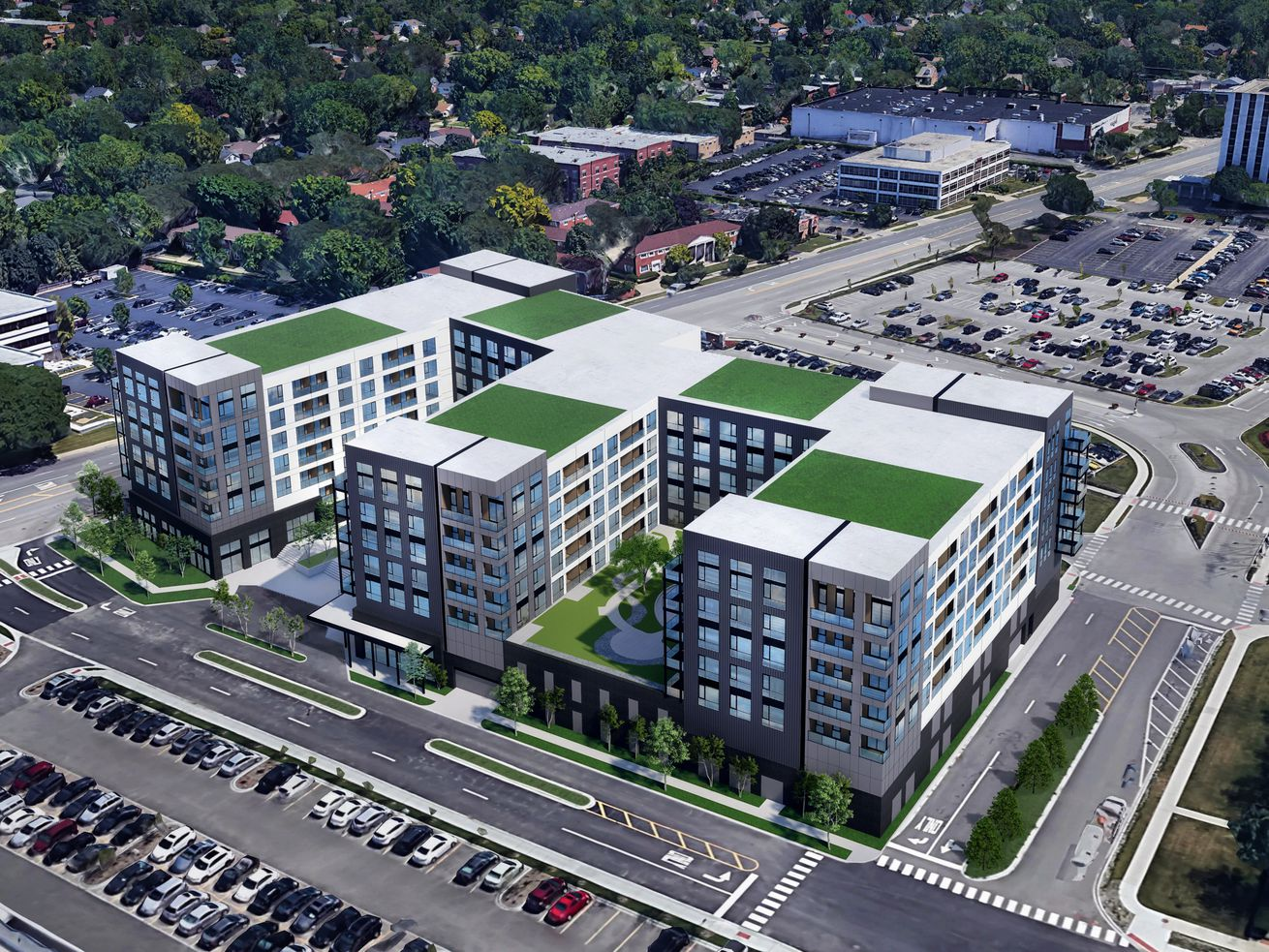 A rendering shows a view looking northeast of the building proposed for 8535 W. Higgins Road. The design is by FitzGerald Associates.