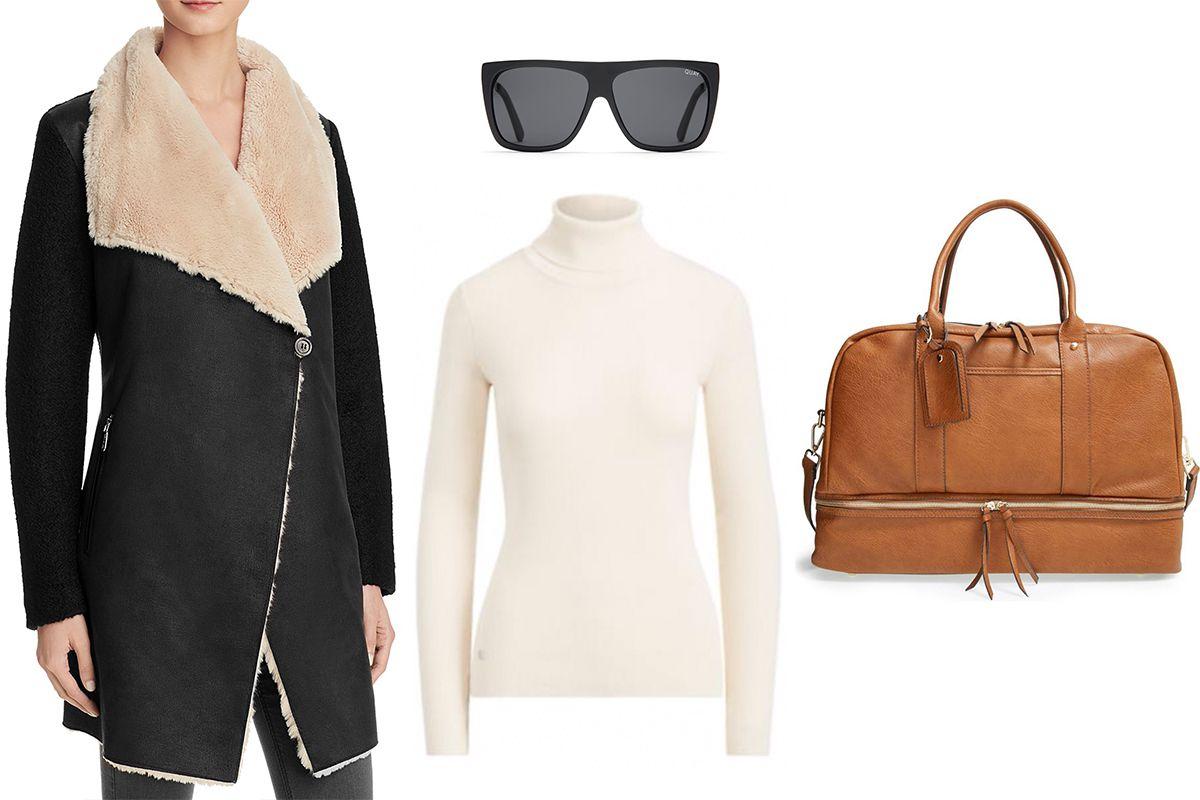Calvin Klein Faux Shearling Jacket, $189. Lauren Ralph Lauren Stretch Cotton Turtleneck, $49.99. Quay Australia OTL II Sunglasses, $65. Sole Society Mason Weekend Bag, $79.95.