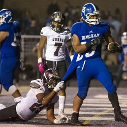 Bingham and Jordan duel during a UHSAA football game in South Jordan on Thursday, Oct. 13, 2016.