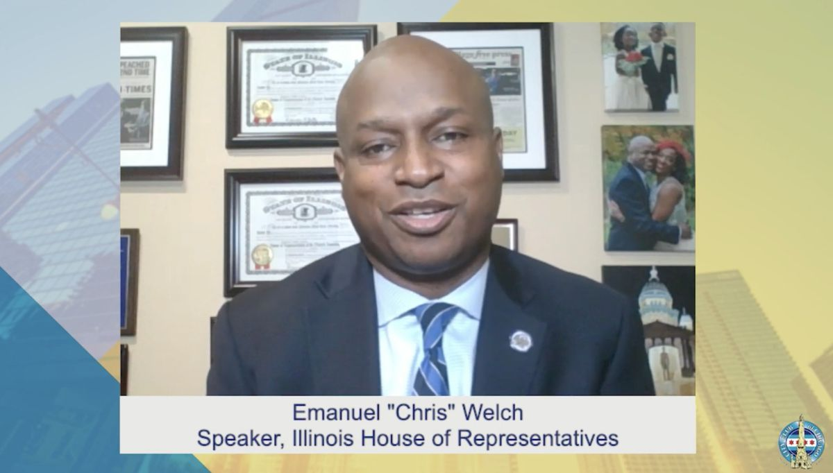 """Illinois House Speaker Emanuel """"Chris"""" Welch speaks during a """"virtual address"""" to the City Club of Chicago on Tuesday."""