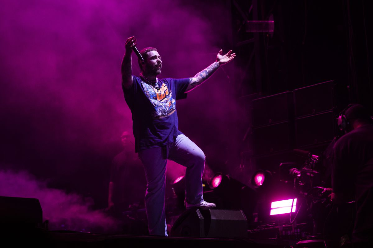 Post Malone performs on day three of Lollapalooza in Grant Park.