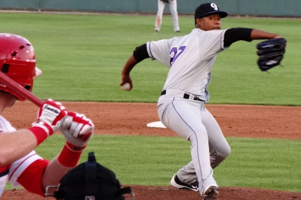 Jayson Aquino pitching in an August game for the Grand Junction Rockies.