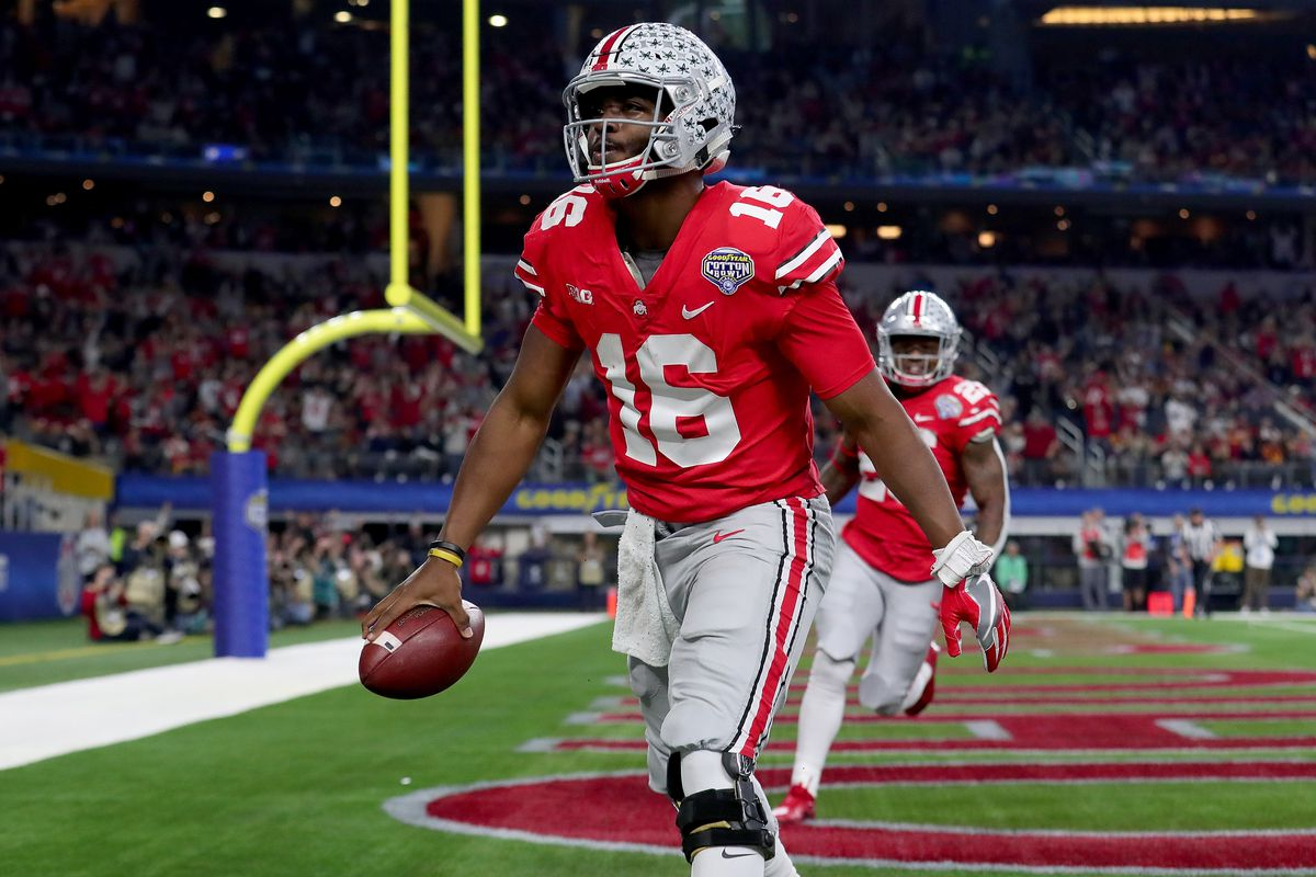 J.T. Barrett celebrates after scoring a touchdown in the last game of his  career. Photo by Tom Pennington Getty Images. For Ohio State ... b3b46ff44