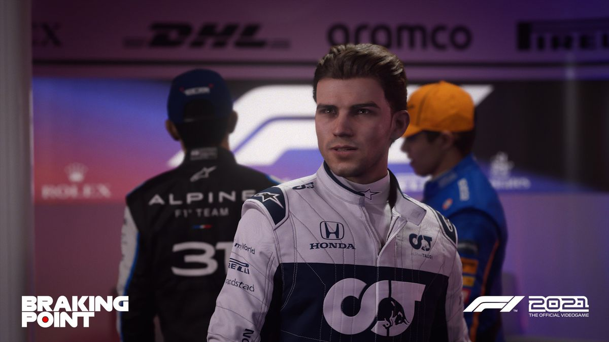 Devon Butler, who drives for AlphaTauri, is the bad guy in the F1 2021 braking point history mode