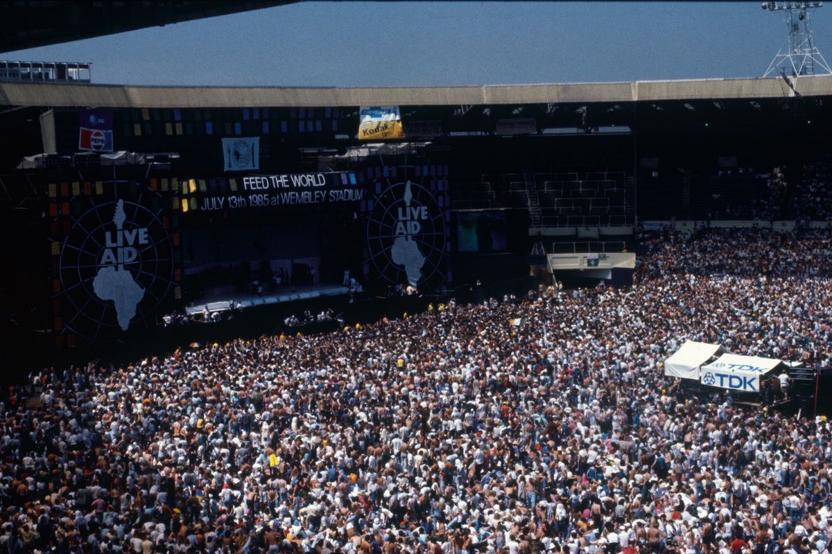 Live Aid audience and stage Wembley Stadium