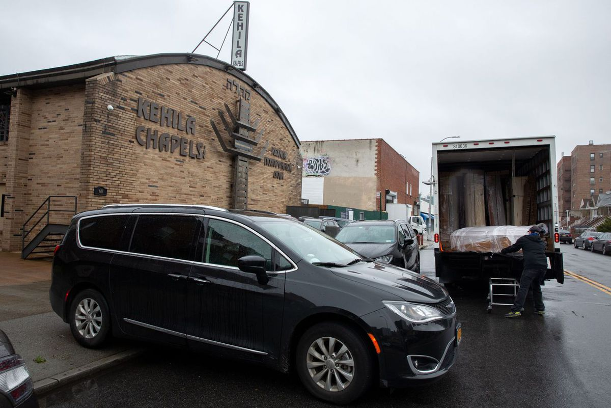 The Kahila Chapel in Brighton Beach received a delivery of coffins during the coronavirus outbreak.
