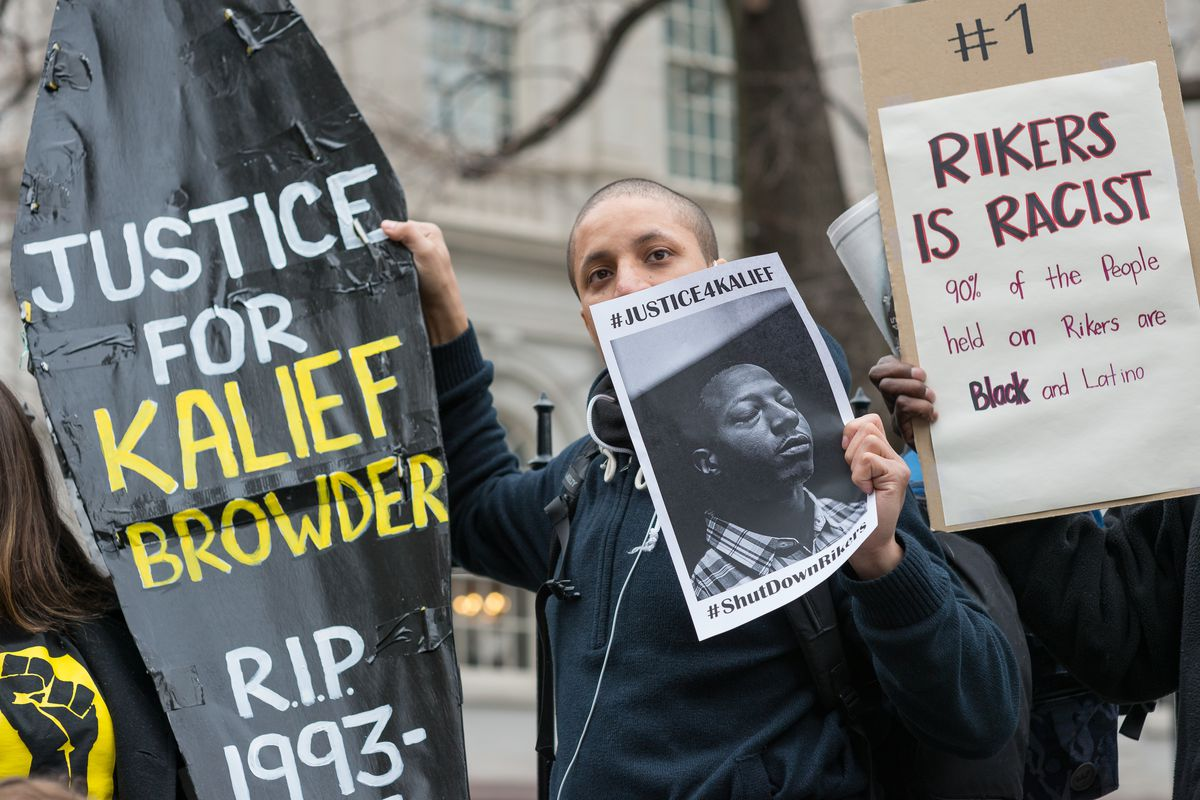 A protester holds a symbolic coffin in memory of Kalief Browder during a 2016 protest in New York City.