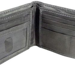 Meet the stainless steel wallet. Woven from stainless steel thread, the mesh feels like silk but prevents in-pocket scanning of credit cards and IDs. Extremely thin, extremely hip, and much more durable than skin from a dead cow. Measures approx 4-1/2&quo