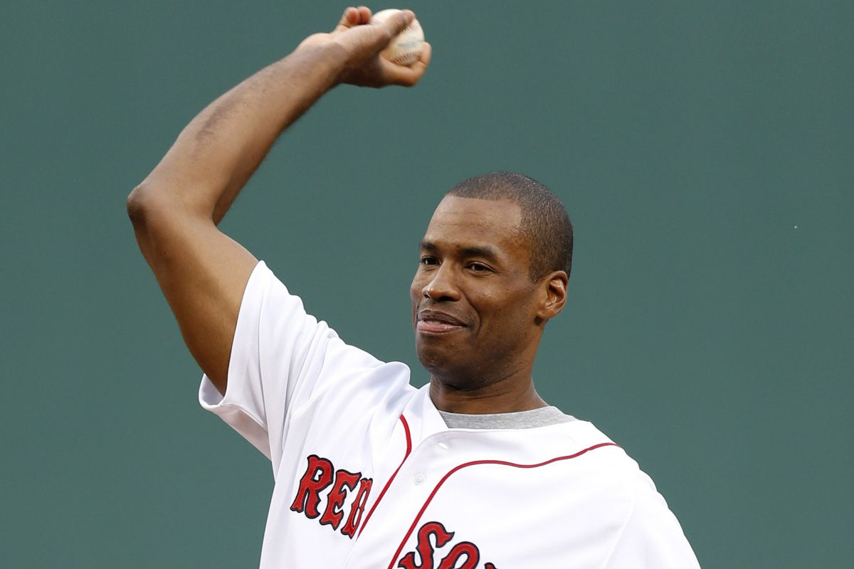 Jason Collins throws out the first pitcher at Thursday's Red Sox game.