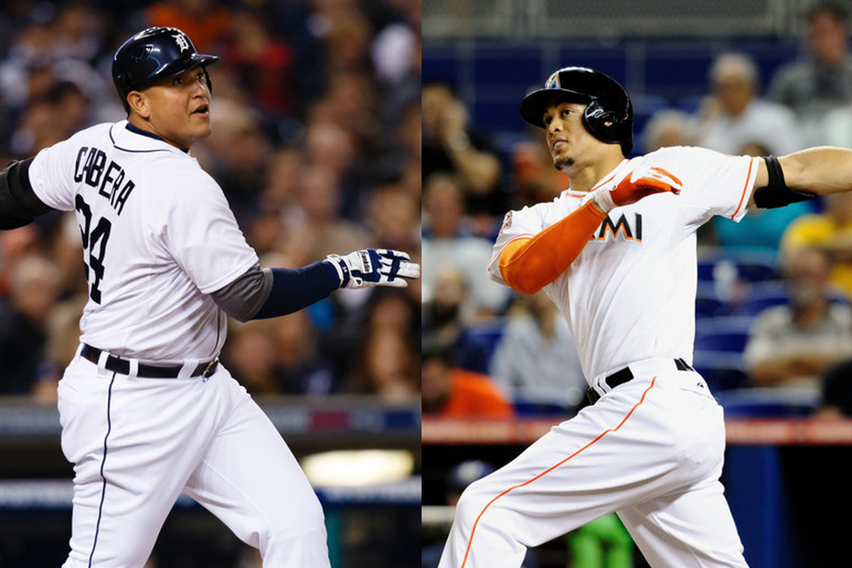 There are marked similarities between the Miami Marlins' Giancarlo Stanton in 2013 and Miguel Cabrera when he was with the Marlins in 2006.
