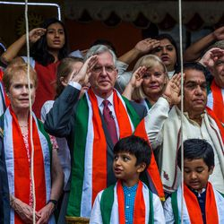 Elder D. Todd Christofferson, a member of the Quorum of Twelve Apostles for The Church of Jesus Christ of Latter-day Saints, third from right, along with his wife, Sister Kathy Christofferson, and other dignitaries salute during the Indian National Anthem after hoisting the Indian flag during the 71st Independence Day celebrations at the MIT World Peace University in Pune, Maharashtra, India, on August 15, 2017.