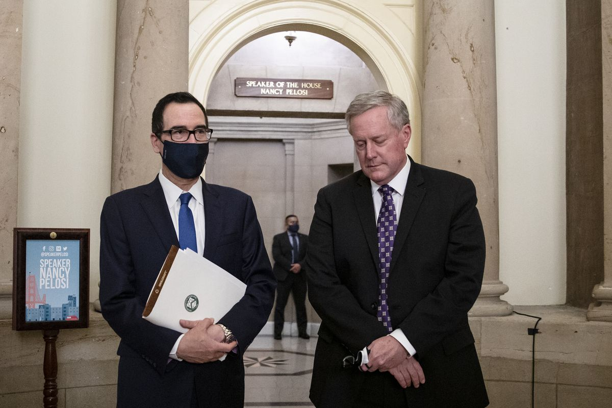 From left to right: U.S. Treasury Secretary Steven Mnuchin and White House Chief of Staff Mark Meadows speak to reporters in Washington