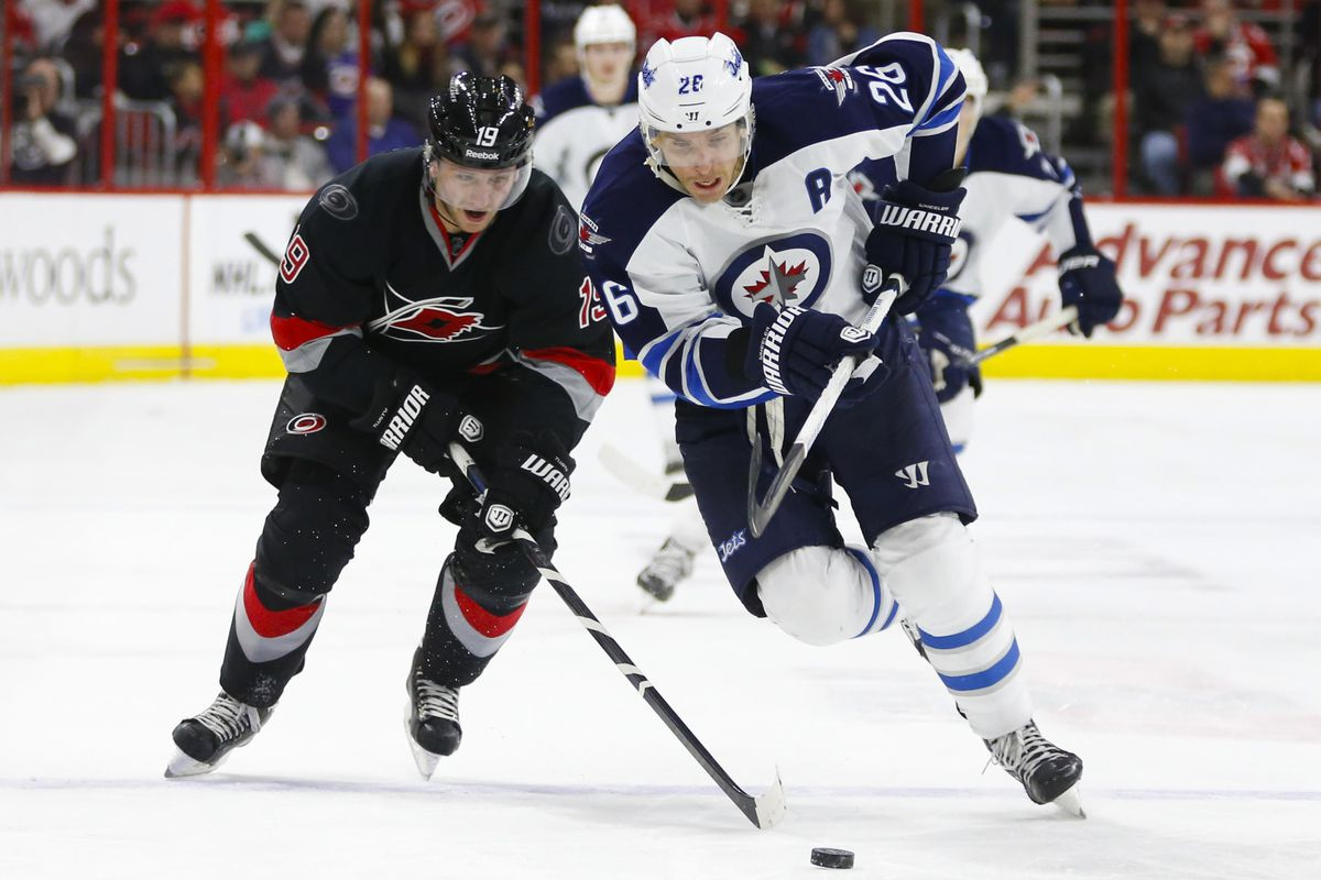 Blake Wheeler scored twice and was player of the game for Winnipeg