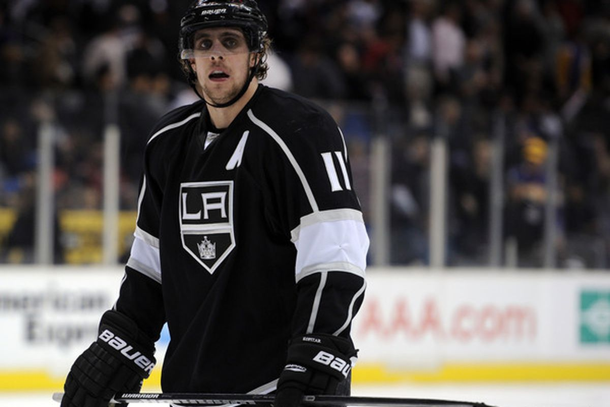 LOS ANGELES CA - JANUARY 20:  Anze Kopitar #11 of the Los Angeles Kings reacts at the end of the game after a 2-0 loss to the Phoenix Coyotes at the Staples Center on January 20 2011 in Los Angeles California.  (Photo by Harry How/Getty Images)