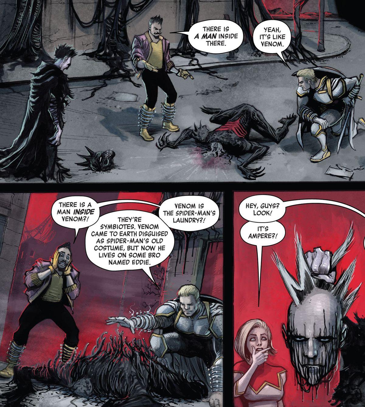 """Batroc the Leaper y Taskmaster (desenmascarado) observan el cuerpo de un simbionte / humano Knull caído. """"Hay un hombre ahí adentro"""", dice Batroc. """"Sí, es como Venom"""", responde Taskmaster. """"¡¿Hay un hombre dentro de Venom ?!"""" Batroc exclama, en King in Black: Thunderbolts # 1, Marvel Comics (2021)."""
